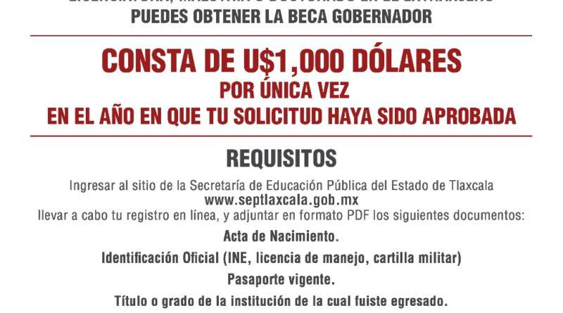 Inicia SEPE registro para participar en la «Beca Gobernador»