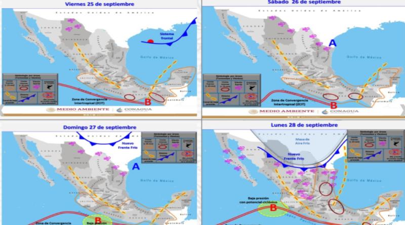 Se pronostican lluvias puntuales intensas para Chiapas y Oaxaca, y muy fuertes en Guerrero, Puebla y Veracruz