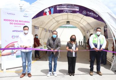 Inaugura Lorena Cuéllar «Kioskos de Oxígeno Gratuito» en Huamantla y Apizaco